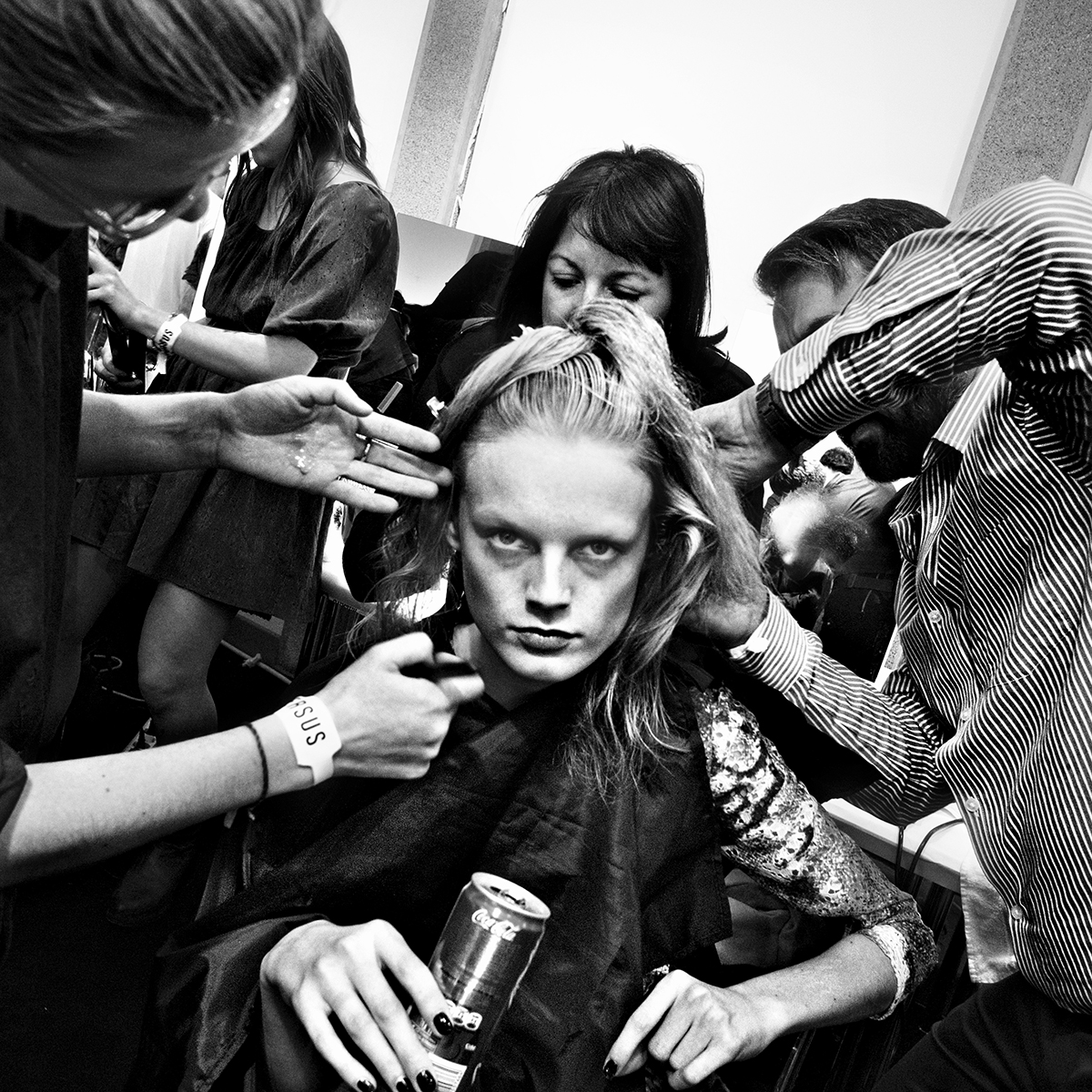 Versace backstage, Milan 2012. For T The New York Times Magazine.